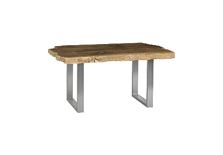 Petrified Wood Dining Tables Brushed Stainless Steel Legs