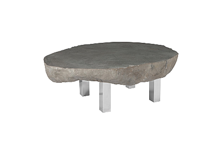 Stone Coffee Table Stainless Steel Legs