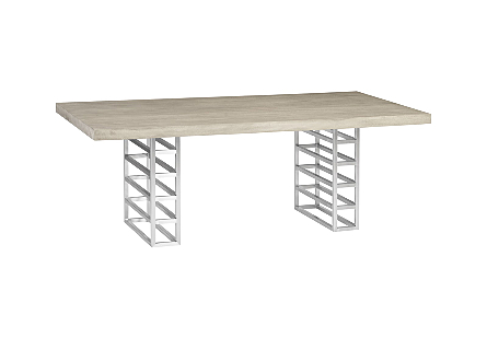 Ladder Dining Table Suar Wood, Gray/Silver Finish