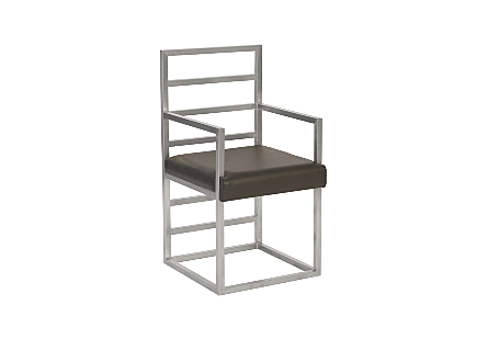 Ladder Arm Chair Silver Finished Base