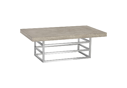 Ladder Coffee Table Suar Wood, Grey/Silver Finish