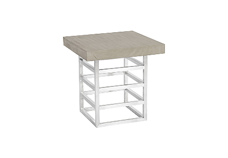 Ladder Side Table Suar Wood, Grey/Silver Finish