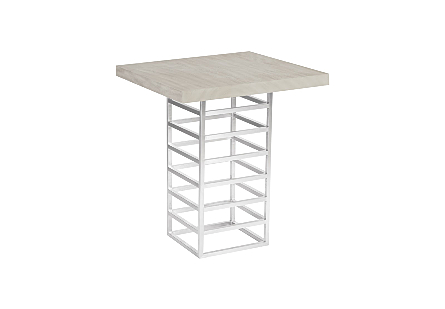 Ladder Bar Table  Suar Wood, Gray/Silver Finish