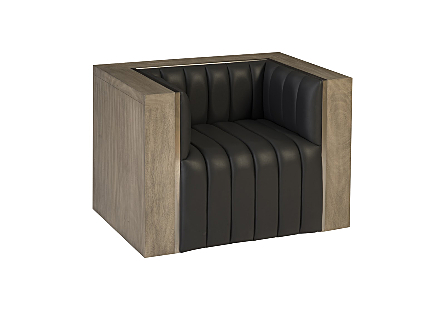 Bordo Club Chair Suar Wood, Grey/Silver Finish