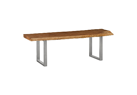 Live Edge Dining Table, Mahogany Wood Brushed Stainless Steel Legs