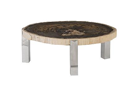 Petrified Wood Coffee Table Stainless Steel Legs