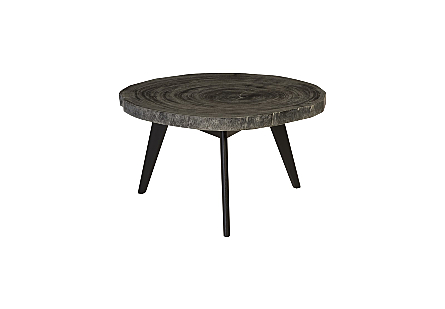 Chuleta Coffee Table with Tapered Wood Legs Suar Wood, Grey Stone