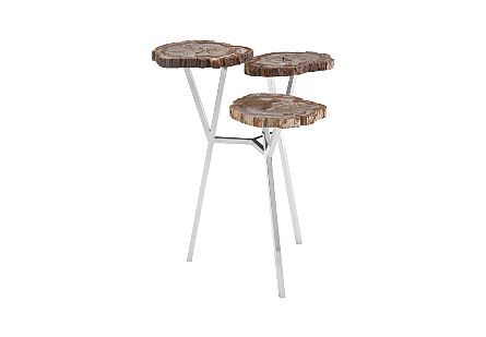 Petrified Wood 3 Tiered Table Stainless Steel Base