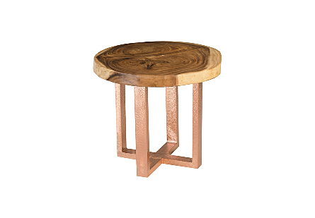 Suar Wood Dining Table Round, Copper X Base