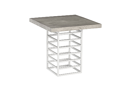 Ladder Counter Table Suar Wood, Grey/Silver Finish