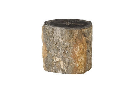 "Petrified Wood Stool, Rough , Black , 15""-18"" x 17""-19""h  Assorted"