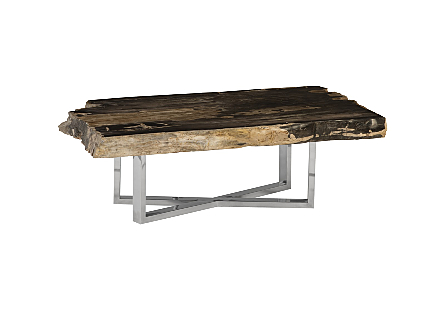 Petriied Wood Coffee Table Stainless Steel Base