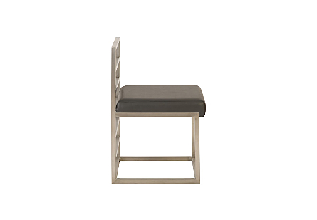 Ladder Dining Chair Low Back Grey/Silver Finish