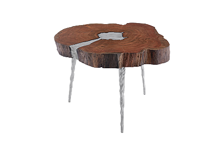Molten Coffee Table Poured Aluminum In Wood