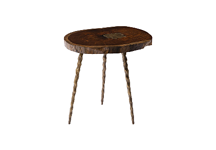 Molten Side Table Poured Brass in Wood, Brass Legs