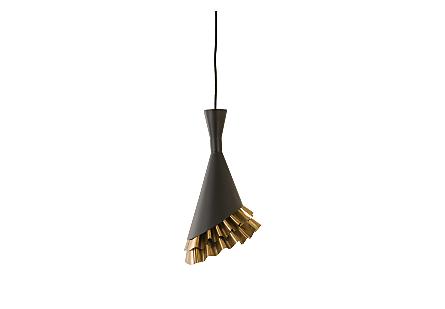 Ruffle Pendant Lamp Black/Brass