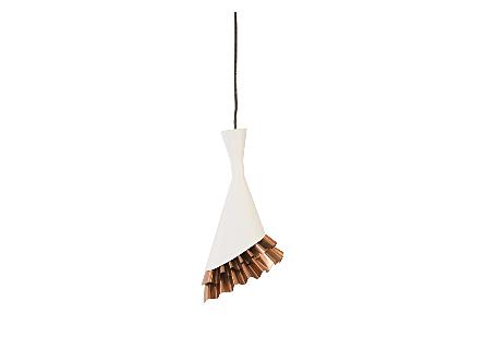 Ruffle Pendant Lamp White/Copper
