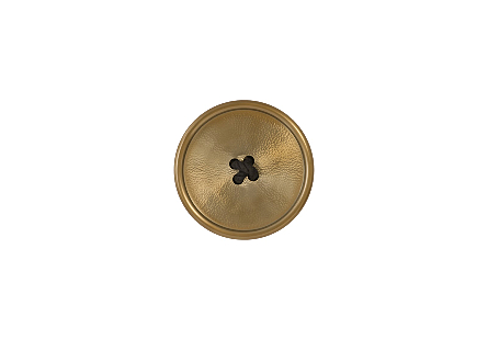 front view of the Gold Button Wall Tile by Phillips Collection a gold whimsical decorative accessory shaped like a button