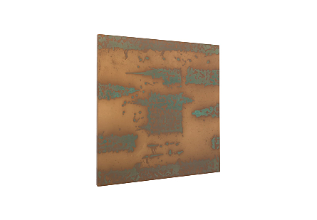 Abstract Copper Patina Wall Art Square