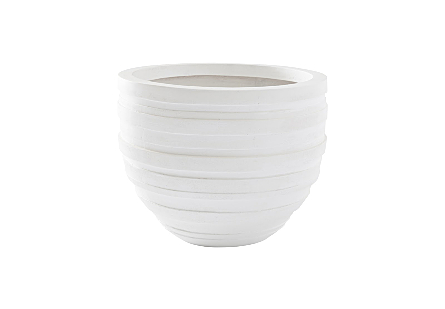 front view of the Phillips Collection June Small White Planter a garden planter with a surface that mimics fabric slathered in white papier-mâché
