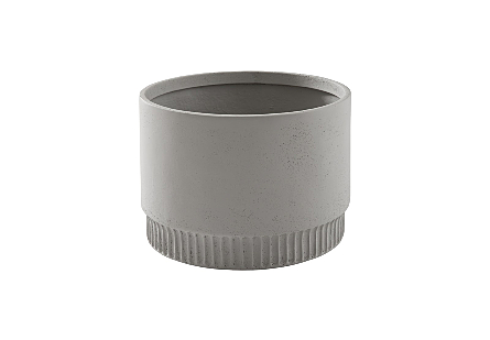 front view of the Phillips Collection Harvest Medium Light Gray Planter which is made of composite with clean lines and a dentil pattern on the implied base