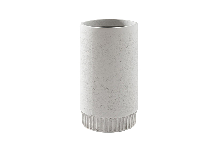 front view of the Phillips Collection Harvest Small Light Gray Planter which is made of composite with clean lines and a dentil pattern on the implied base