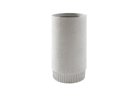 front view of the Phillips Collection Harvest Large Light Gray Planter which is made of composite with clean lines and a dentil pattern on the implied base
