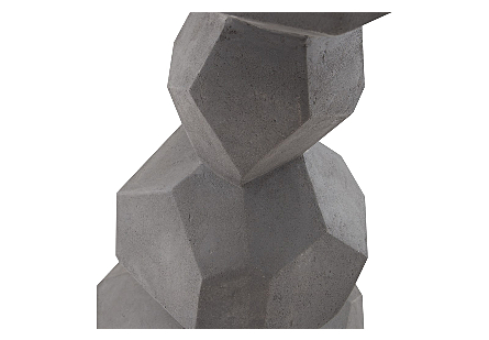 Faceted Rock Column Sculpture Grey