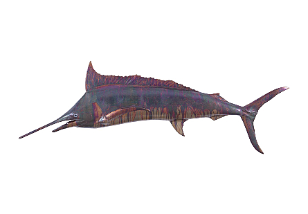 front view of Blue Marlin Maroon Wall Sculpture by Phillips Collection a fish sculpture made of composite in a copper patina finish