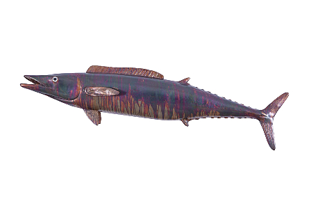Wahoo Fish Wall Sculpture Resin, Copper Patina Finish