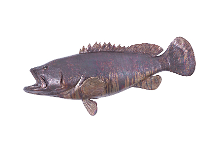 Estuary Cod Fish Wall Sculpture Resin, Copper Patina Finish