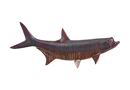 front view of the Phillips Collection Tarpon Maroon Wall Sculpture a fish sculpture to hang on the wall made of composite in a copper patina finish
