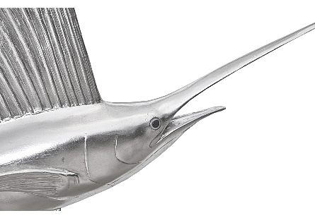 Sail Fish Wall Sculpture Resin, Silver Leaf