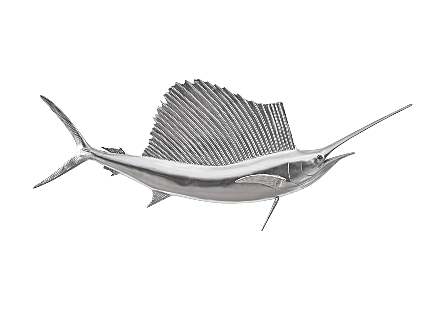 front view of the Phillips Collection Sail Fish Silver Wall Sculpture a fish sculpture to hang on the wall made of composite in a silver leaf finish