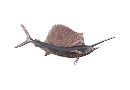 front view of the Phillips Collection Sail Fish Maroon Wall Sculpture a fish sculpture to hang on the wall made of composite in a copper patina finish