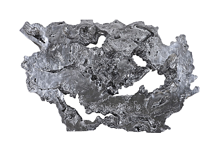 Burled Root Wall Art Large , Liquid Silver