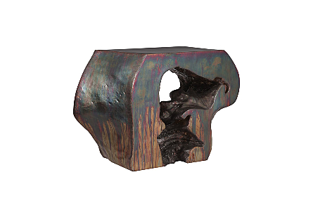 right angled view of the Phillips Collection Plateada Copper Hollow Console made of composite that has been molded to look like a piece of burled wood