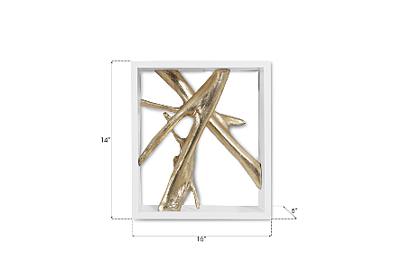 Framed Branches Wall Tile, White, Gold Leaf