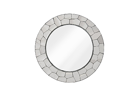 front view of the Crazy Cut Round Mirror by Phillips Collection made of composite and stainless steel in a brilliant silver finish