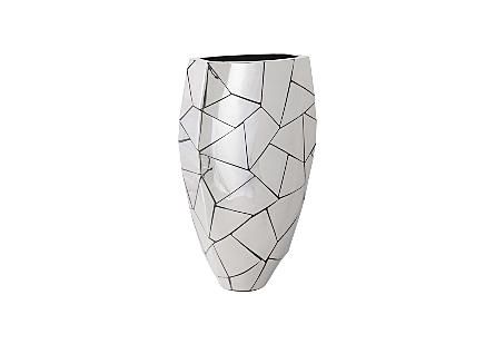 angled view of the Phillips Collection Triangle Crazy Cut Large Planter with an asymmetrical pattern flowing along its composite surface in a silver finish