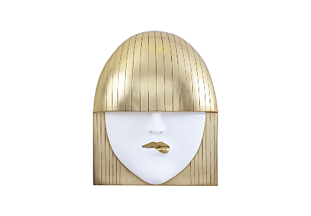 Fashion Faces Wall Art Large, Pout, White and Gold Leaf