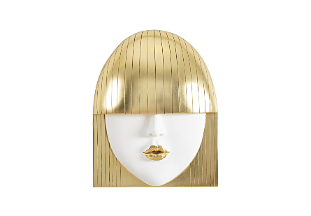 Fashion Faces Wall Art Large, Kiss, White and Gold Leaf