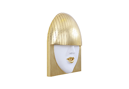 Fashion Faces Wall Art Large, Smile, White and Gold Leaf