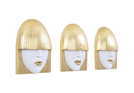 Fashion Faces Wall Art Small, White and Gold Leaf, Set of 3