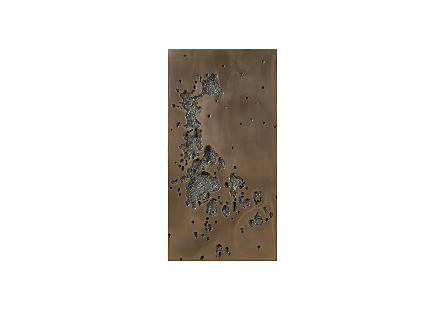 front view of the Phillips Collection Splotch Random Rectangular Bronze Wall Art which is made of composite in a bronze finish with craters along the frame
