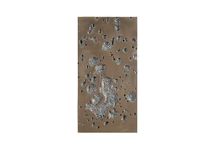front view of the Phillips Collection Splotch Dense Rectangular Bronze Wall Art which is made of composite in a bronze finish with craters along the frame