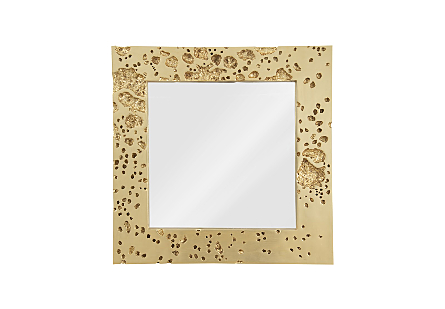 front view of the Phillips Collection Splotch Gold Mirror a decorative mirror made of composite in a silver leaf finish with craters along the frame