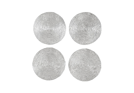 front view of the Phillips Collection Ripple Large Silver Wall Disk Set with a striated surface made of composite in a luminous silver leaf finish