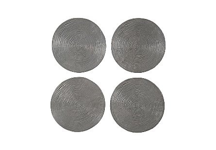 front view of the Phillips Collection Ripple Large Gray Wall Disk Set with a striated surface made of aluminum in a mix of black and silver finishes