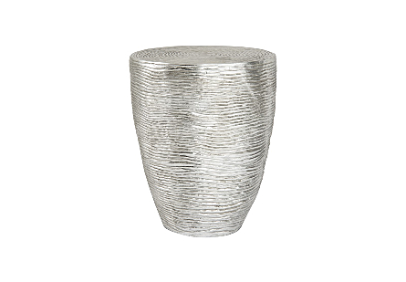 Phillips Collection Ripple Silver Side Table is a silver occasional table in a bright silver leaf finish with striations